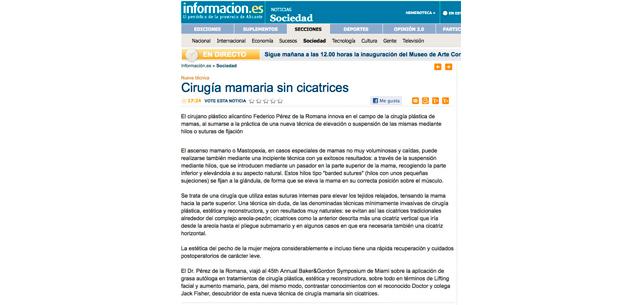 Cirugía Plástica Mamaria sin cicatrices - Dr. Pérez de la Romana