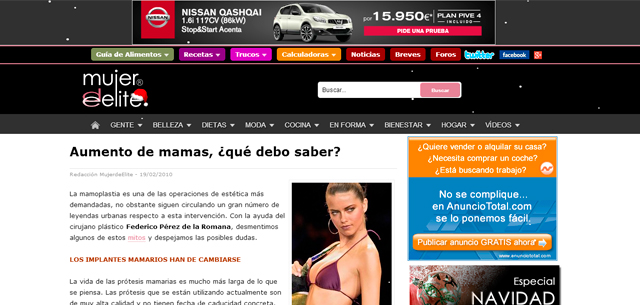 Aumento de mamas en Mujer de Élite con el Dr. Pérez de la Romana